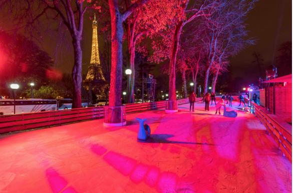 Une patinoire dans les jardins du Trocadéro
